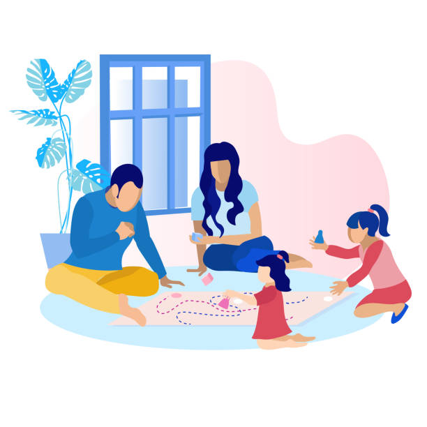 happy parents with children playing game at home - family stock illustrations