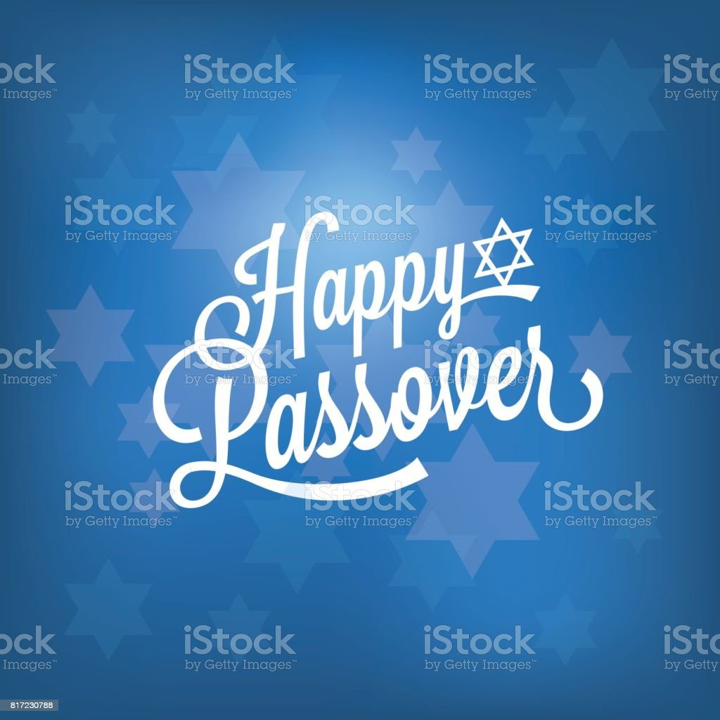 happy passover card with blue bokeh background vector art illustration