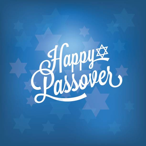 happy passover card with blue bokeh background - passover stock illustrations, clip art, cartoons, & icons