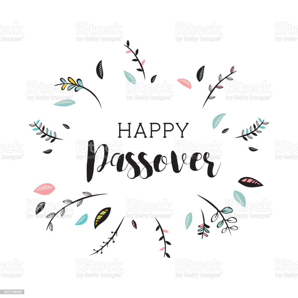 happy passover card with floral decoration. vector illustration vector art illustration