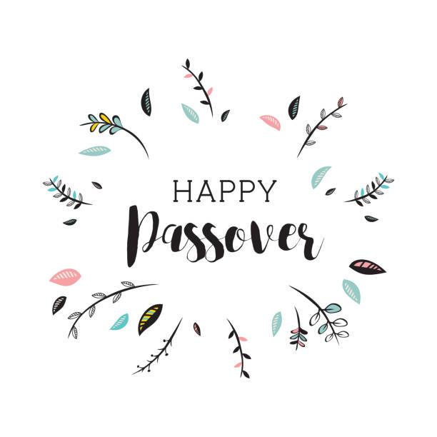 happy passover card with floral decoration. vector illustration - passover stock illustrations, clip art, cartoons, & icons