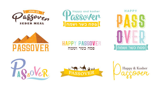 happy passover greeting in hebrew collection- vector - passover stock illustrations, clip art, cartoons, & icons