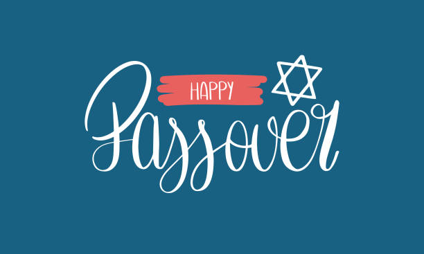 Happy Passover handwritten lettering. Also Pesach. Jewish holiday. Poster, postcard, greeting card, invitation, banner or background. Vector illustration Happy Passover handwritten lettering. Also Pesach. Jewish holiday. Poster, postcard, greeting card, invitation, banner or background. Vector illustration passover stock illustrations