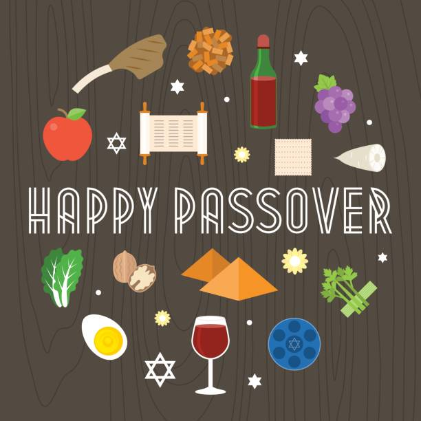 Happy passover illustration with icon and element such as seder plate Happy passover illustration with icon and element such as seder plate, pyramid and torah seder plate stock illustrations