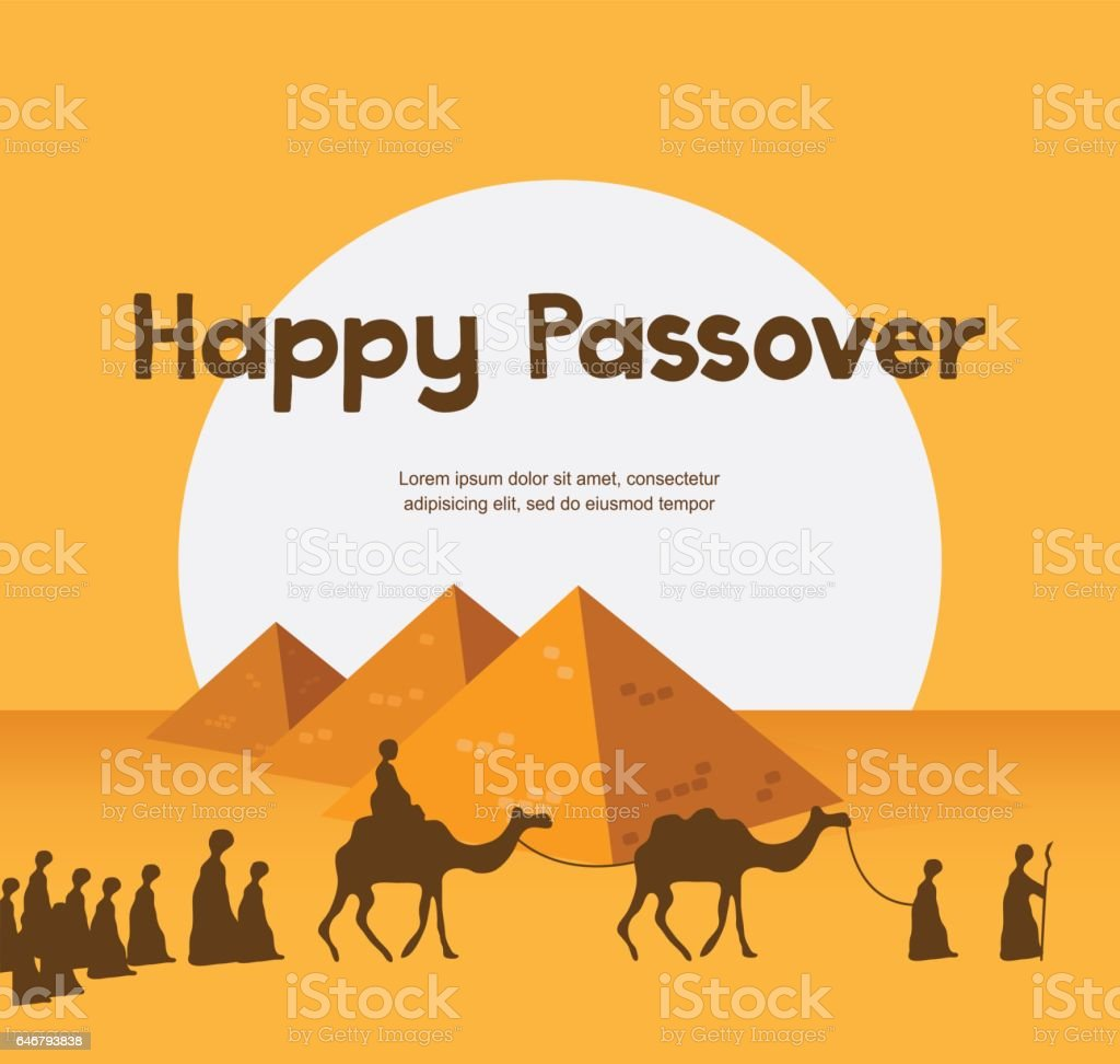happy Passover in Hebrew, Jewish holiday card template vector art illustration