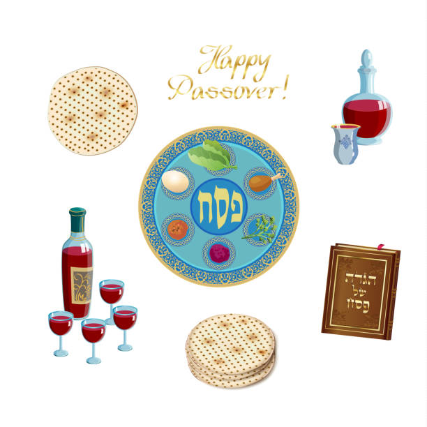 Happy Passover Jewish Holiday decorative vintage icons set - haggadah book, wine bottle, four wine glass, matzo, matzah - jewish traditional bread for Passover seder ceremony, pesach seder plate, isolated on white background, Happy Passover - translate Hebrew lettering, Jewish Holiday decorative vintage icons set - haggadah book, wine bottle, four wine glass, matzo, matzah - jewish traditional bread for Passover seder ceremony, pesach seder plate, isolated on white background, Israel, vector illustration seder plate stock illustrations