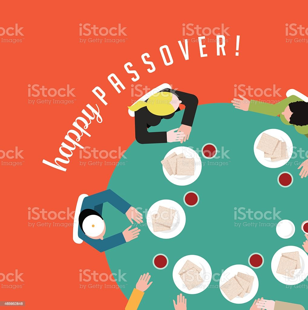 Happy Passover people having traditional matzoh and wine EPS10 vector vector art illustration