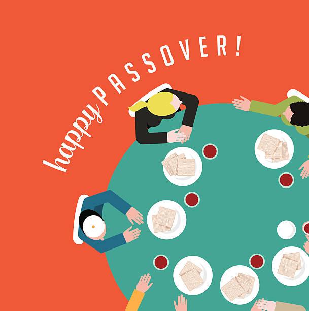 happy pessach personen haben traditionelle matzoh und wein eps10 vektor - pessach stock-grafiken, -clipart, -cartoons und -symbole