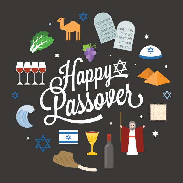 happy passover poster pictogram with moses - passover stock illustrations, clip art, cartoons, & icons