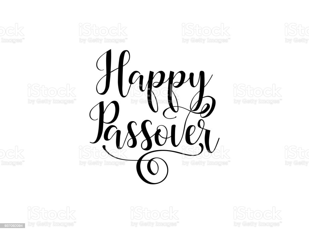 Happy Passover Traditional Jewish Holiday Handwritten Text Vector