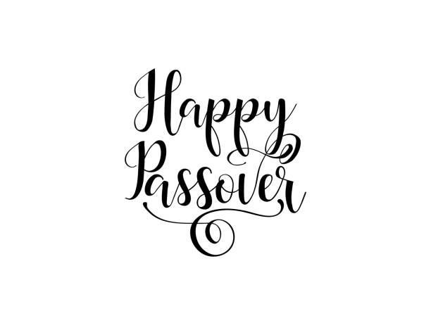 happy passover. traditional jewish holiday handwritten text, vector illustration for greeting cards, banners, graphic design. - passover stock illustrations, clip art, cartoons, & icons
