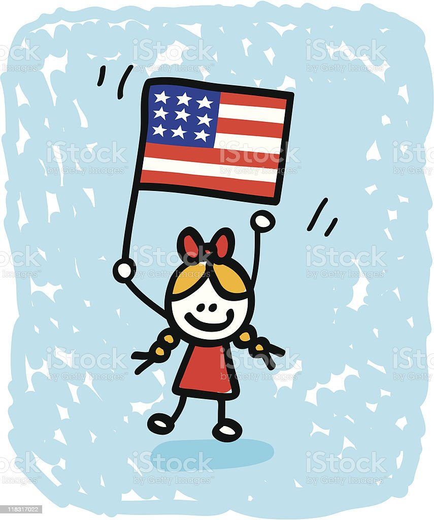happy patriotic american children girl with USA flag cartoon image royalty-free happy patriotic american children girl with usa flag cartoon image stock vector art & more images of american culture