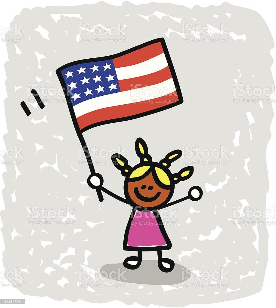 happy patriotic american children girl with USA flag cartoon image royalty-free stock vector art
