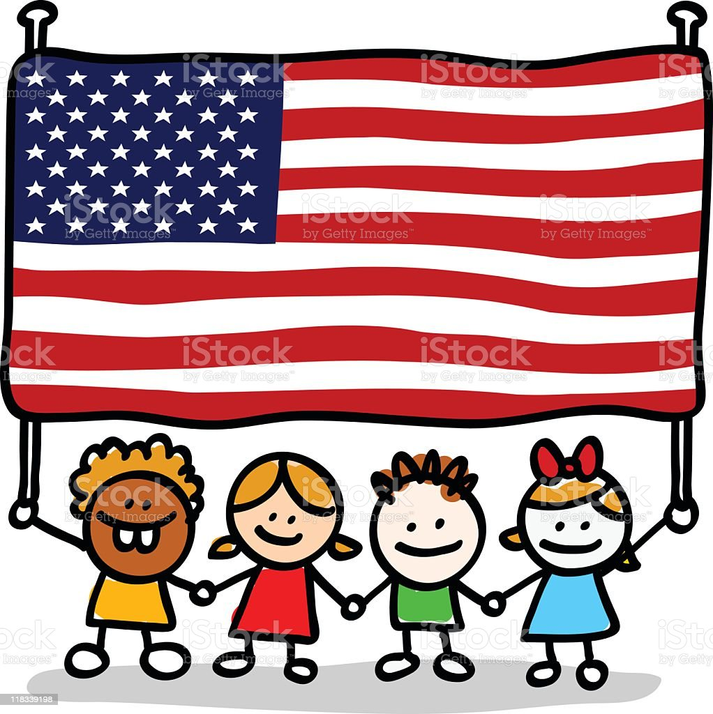 happy patriotic american children with USA flag cartoon image royalty-free stock vector art
