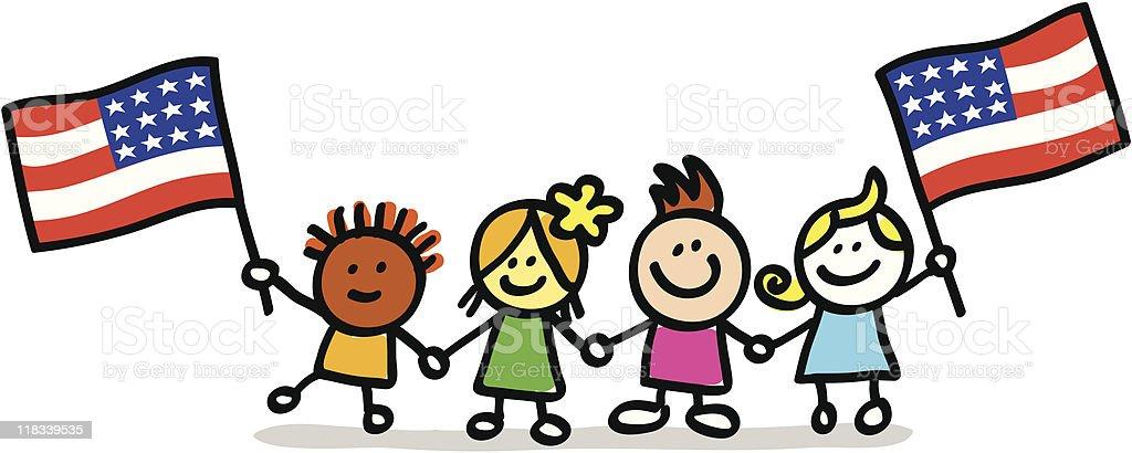 happy patriotic american children with USA flag cartoon image
