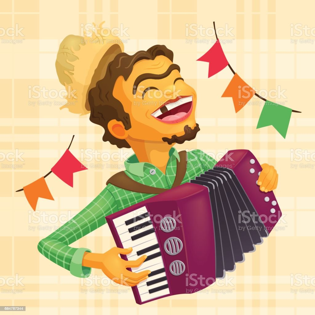 Happy peasant playing the accordion vector art illustration