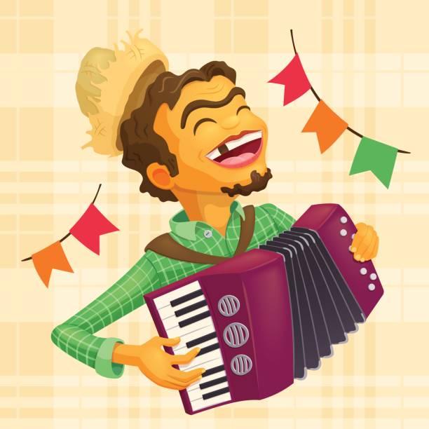Glückliche Bauer Akkordeon zu spielen – Vektorgrafik