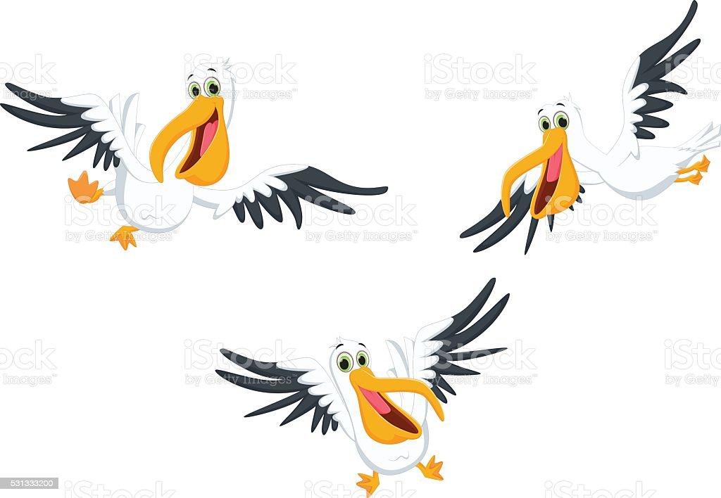 happy pelican cartoon vector art illustration