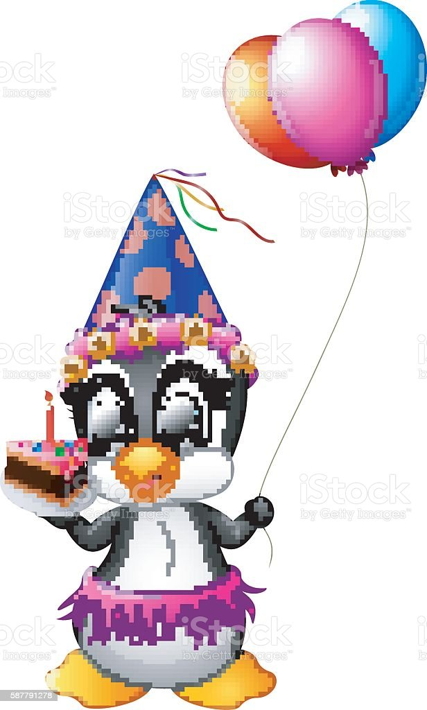 Happy Penguin Cartoon Holding Birthday Cake And Balloon Stock Vector