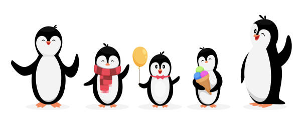 Happy penguin family. Penguins isolated on white background. Vector cute cartoon character animals set Happy penguin family. Penguins isolated on white background. Vector cute cartoon character animals set. Illustration penguin family, cartoon winter animal penguin stock illustrations