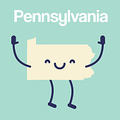 Happy Pennsylvania Map Icon