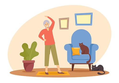 Feliz Pensionista Mulher Hobby e Estilo de Vida Saudável, Personagem Feminina Sênior Exercitando-se em casa. Esporte de Mulher Idosa