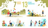 Happy People and Families Characters Scenes Flat Set. Parents and Child, Married Couples and Friends, Pet Owners. Men and Women Scooting, Rushing with Luggage, Snacking in Cafe. Vector Illustration