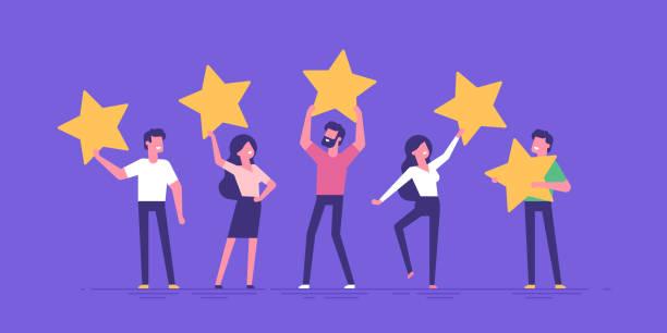 행복한 사람들은 그들의 머리 위에 리뷰 별을 들고있다. 별 5개. 고객 평가 평가 및 고객 피드백 개념. 현대 벡터 그림입니다. - evaluation stock illustrations