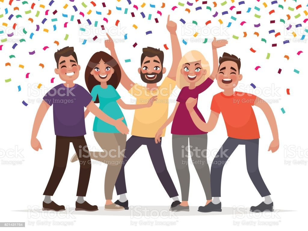 Happy people celebrate an important event. Joyful emotions. Vector illustration - illustrazione arte vettoriale