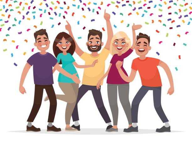 Happy people celebrate an important event. Joyful emotions. Vector illustration Happy people celebrate an important event. Joyful emotions. Vector illustration in cartoon style coworker stock illustrations