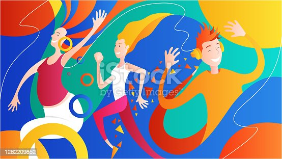 istock Happy people dancing 1282209852