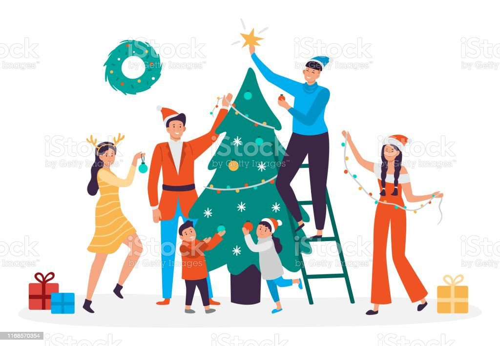 Happy People Decorating Christmas Tree Family Preparing ...