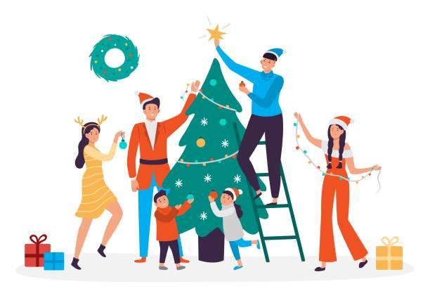 stockillustraties, clipart, cartoons en iconen met gelukkige mensen versieren kerstboom. familie voorbereiden voor nieuwjaar, 2020 xmas vakantie partij vector illustratie - christmas family