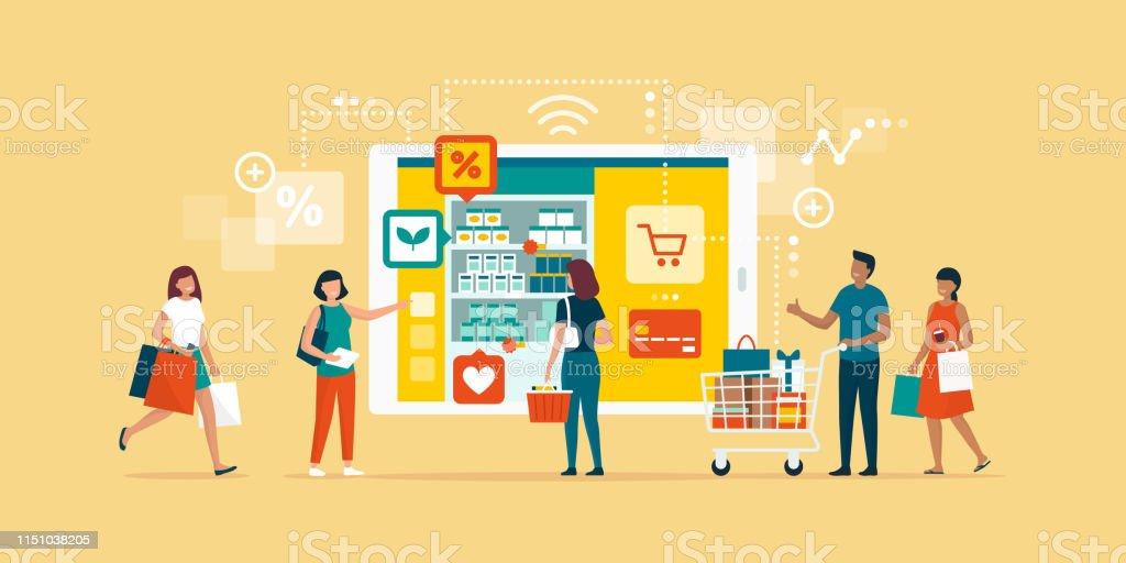 快樂的人在網上購物 - 免版稅互聯網圖庫向量圖形