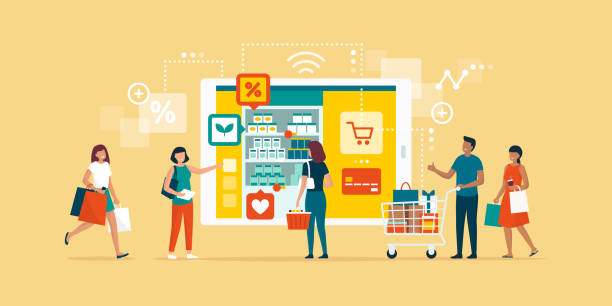 Happy people doing grocery shopping online Happy people doing grocery shopping online and shopping smartphone app: technology, retail and communication concept grocery store stock illustrations