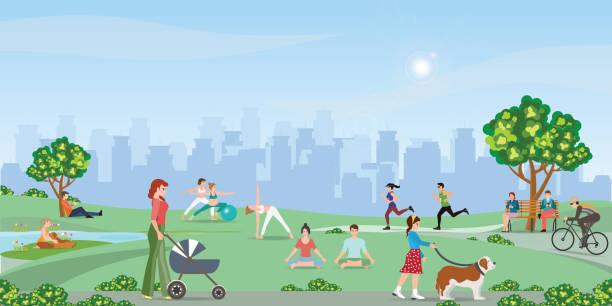 illustrazioni stock, clip art, cartoni animati e icone di tendenza di happy people enjoying at the park. - city walking background