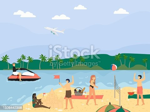 Happy people enjoying summer beach vacation, flat vector illustration. Travel. Beach activity.