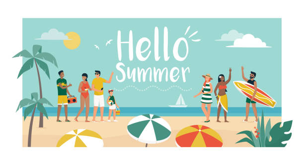 Happy people enjoying summer vacations on the beach Happy people enjoying summer vacations on the beach, they are dancing and talking, tourism and summer time concept family trips and holidays stock illustrations