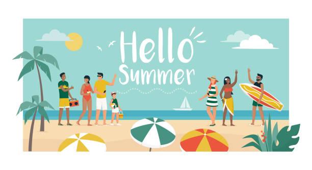 illustrations, cliparts, dessins animés et icônes de personnes heureuses appréciant des vacances d'été sur la plage - vacances en famille
