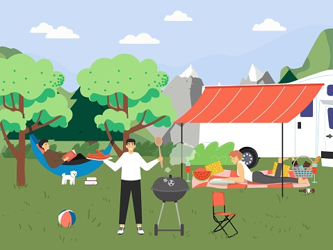 Happy people grilling sausages and reading books, flat vector illustration. Summer hiking, bbq party, camper van travel.