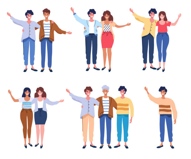 Happy people group portrait. Friends waving hands, couples embracing each other vector illustration vector art illustration