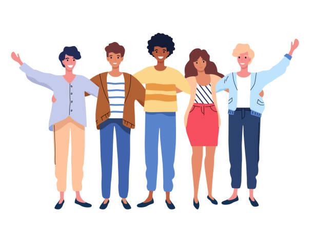 Happy people group portrait. Friends waving hands, embracing each other vector illustration vector art illustration