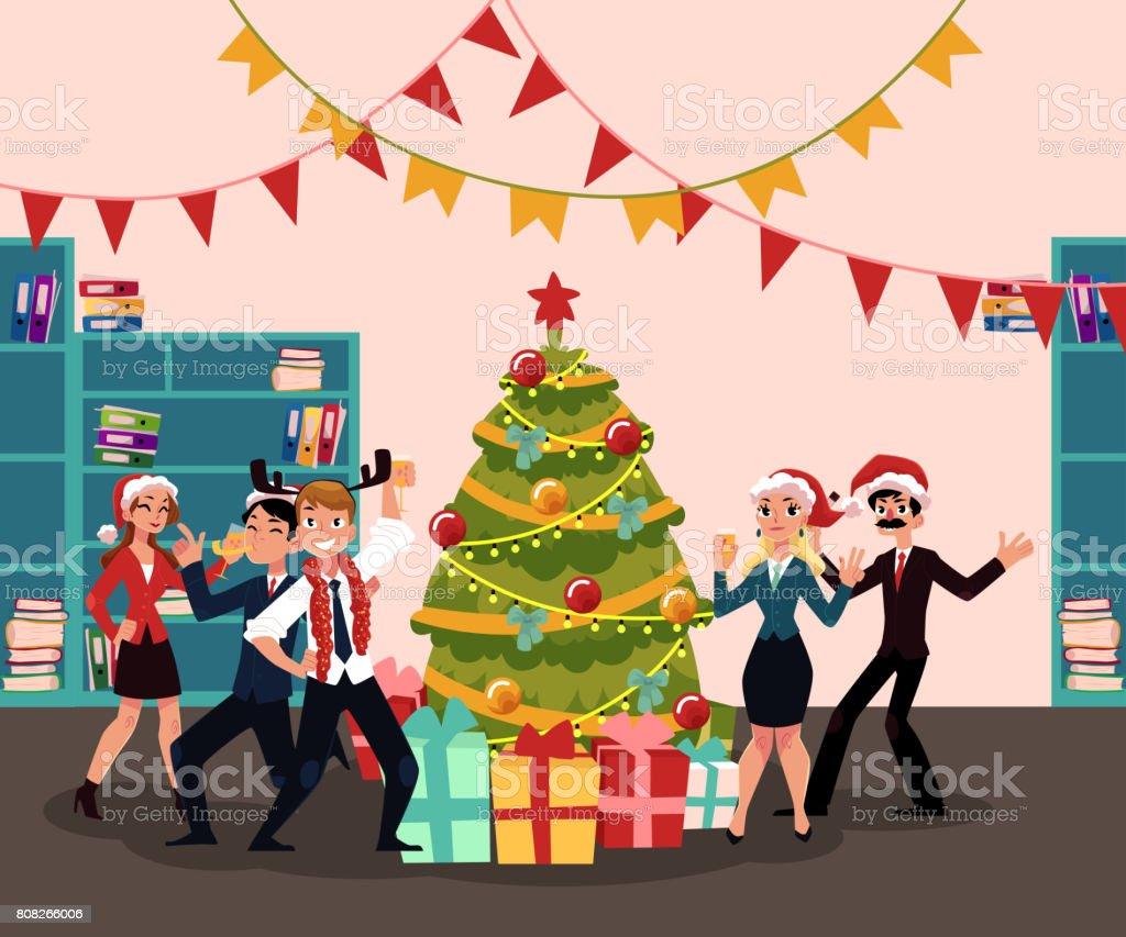 Gente Feliz En Navidad.Ilustracion De Gente Feliz Fiesta De Navidad Corporativa