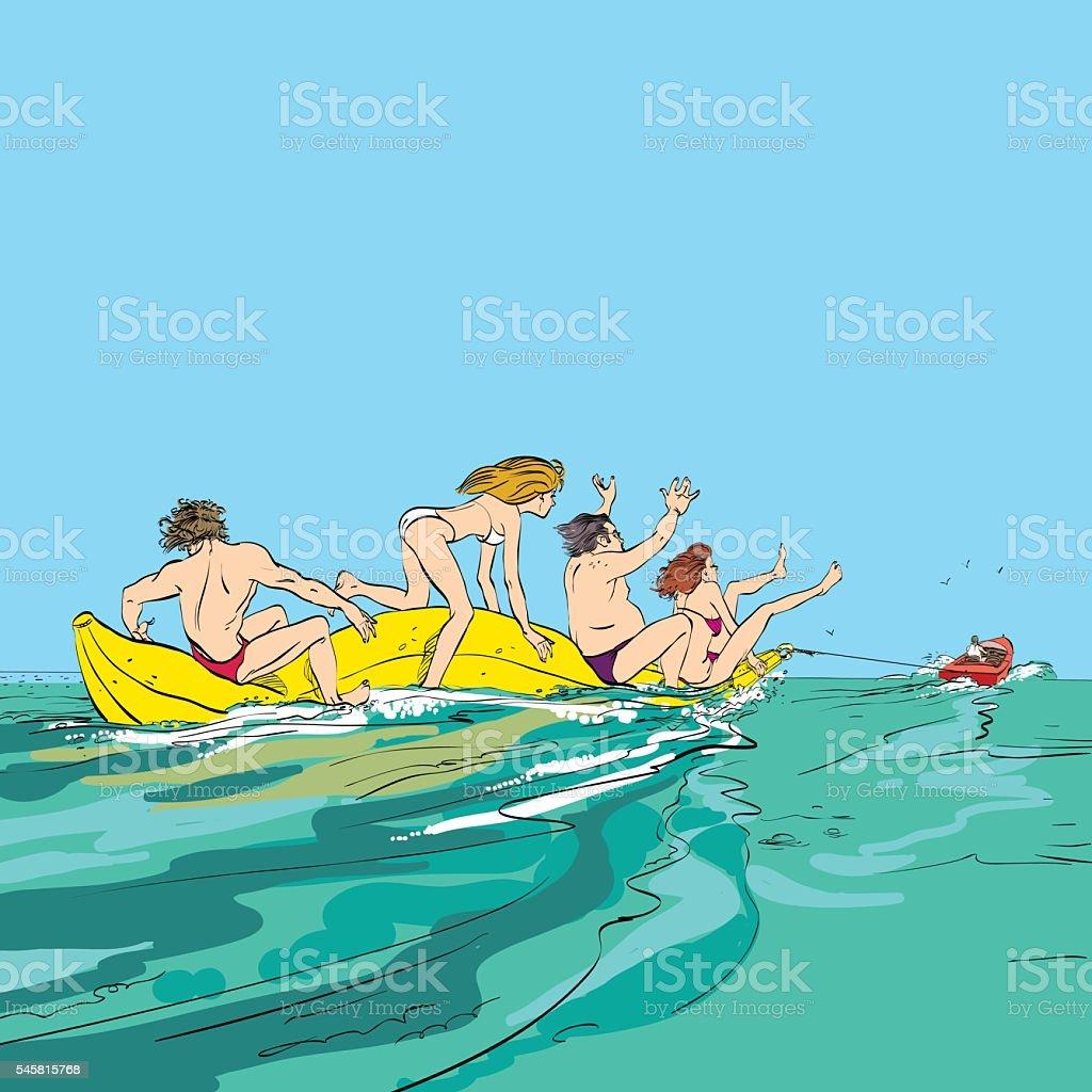 happy people having fun on banana boat vector art illustration