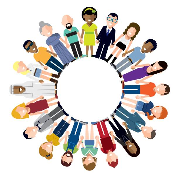 happy people holding hands circle - demographics infographics stock illustrations, clip art, cartoons, & icons
