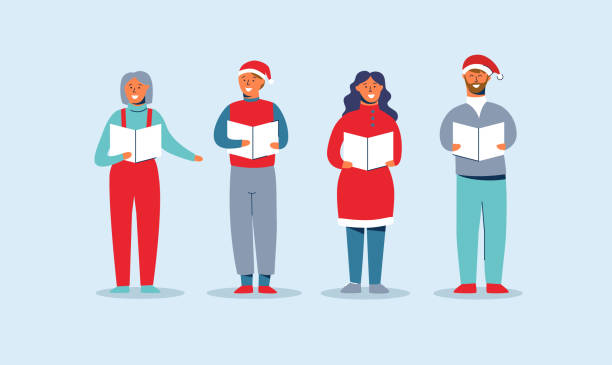 Happy People in Santa Hats Singing Christmas Carols. Winter Holidays Characters. Xmas Singers Caroling Choir Man and Woman. Vector illustration Happy People in Santa Hats Singing Christmas Carols. Winter Holidays Characters. Xmas Singers Caroling Choir Man and Woman. Vector illustration gospel choir stock illustrations