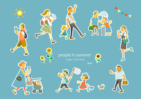 happy people in summer city