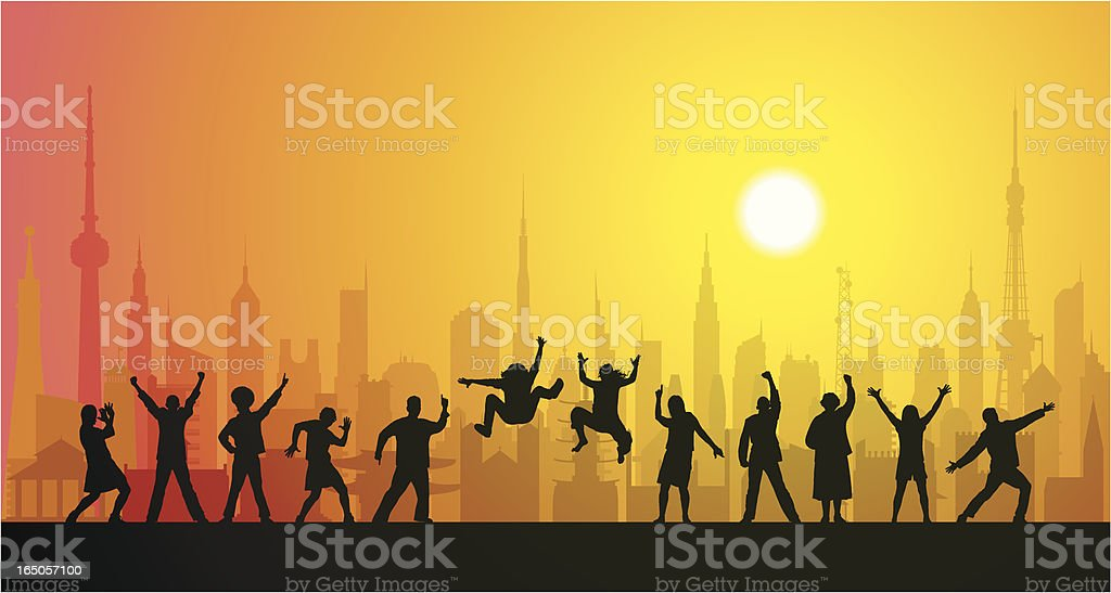 Happy People in the City royalty-free stock vector art
