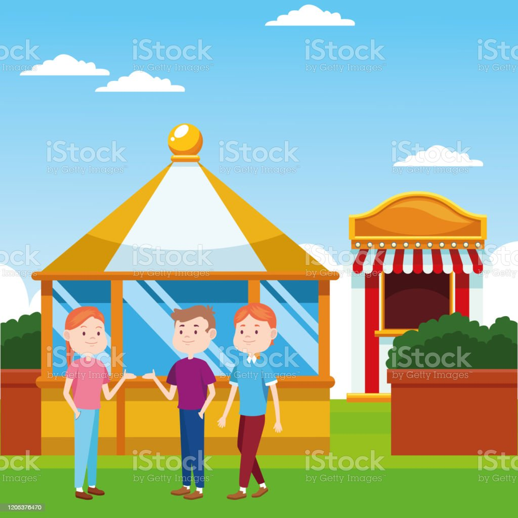 Happy People In The Fair Over Ticket Booth And Landscape Background Colorful Design Stock Illustration Download Image Now Istock