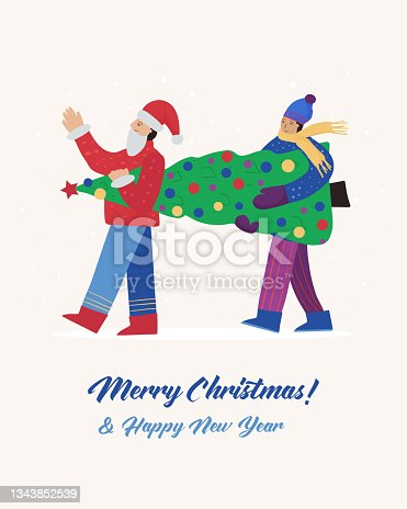 istock Happy people in winter clothes are carrying the New Year tree, getting ready for the Christmas holiday. Vector flat poster 1343852539